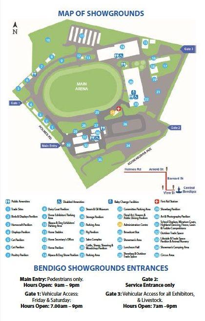 Bendigo Show Map
